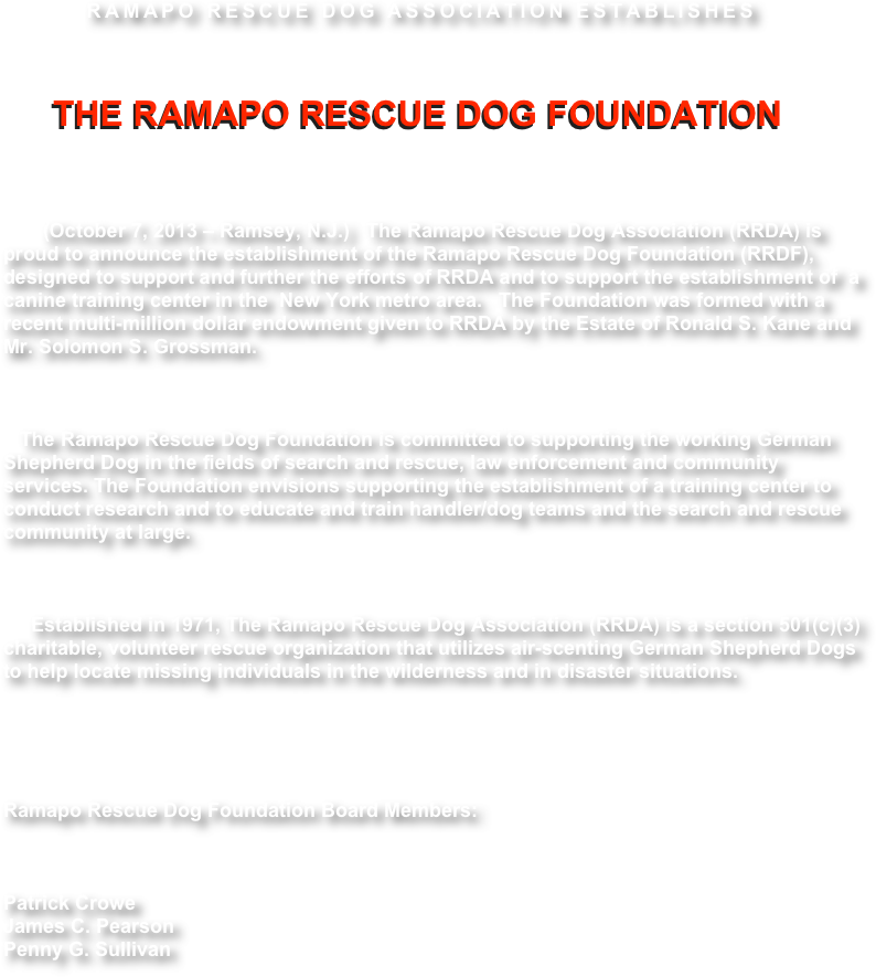 RAMAPO RESCUE DOG ASSOCIATION ESTABLISHES 